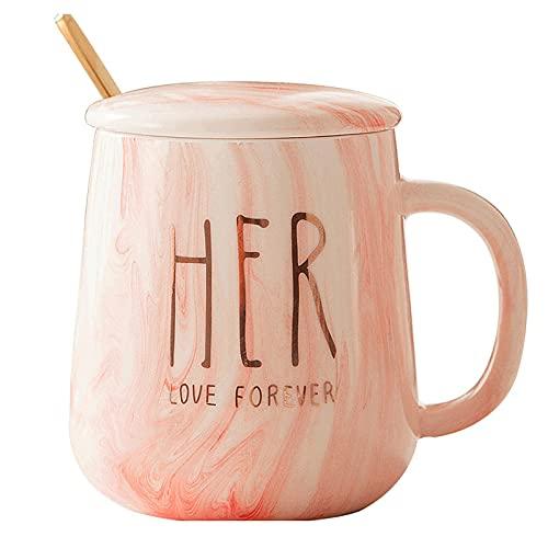 Taza de cerámica de mármol creativo Taza de agua de la taza de agua de la taza de la taza de la leche del desayuno nórdico con la cuchara de la tapa
