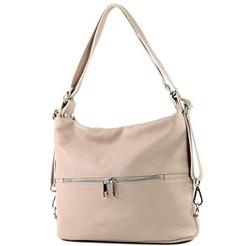 modamoda de - T189 - ital. Damen Rucksack Tasche 2in1 aus Leder, Farbe:Rosabeige
