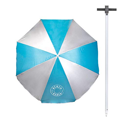 Aktive 62176 - Sombrilla playa 180 cm Pincho integrado y Protección UV 50 Azul Beach