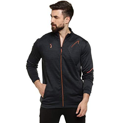 Campus Sutra Men's Track Jacket (CT19_JRHNZP_M_PLN_BL_Black_XL)