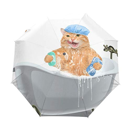 Niedliche Katzen-Duschwanne, kompakter Reise-Regenschirm, Outdoor-Regensonne, Auto-Klappschirme für Winddicht, verstärkter Überdachung, UV-Schutz, ergonomischer Griff, automatisches Öffnen/Schließen