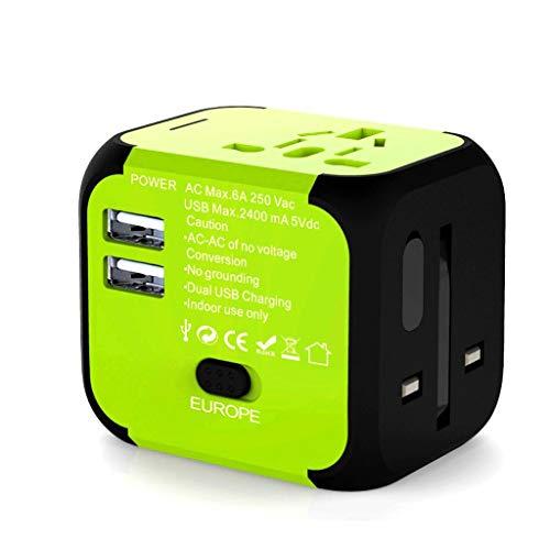 DUOER home Adaptador de Viaje Universal, adaptadores de Enchufe de Viajes Mundial Universal del Mundo con un Cargador USB Dual de 2.4A (Color : Green)