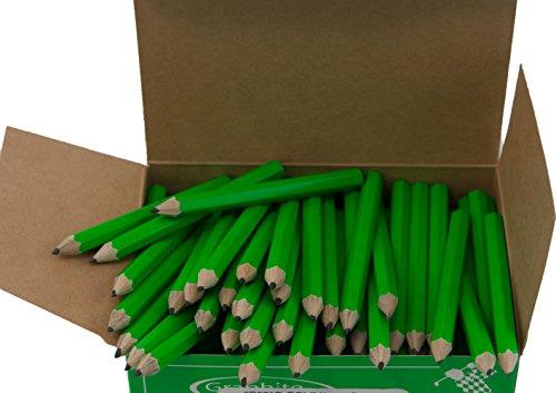 Half Pencils Sharpened Hex (No Eraser) (Golf Pencils, Pew Pencil, Score Pencil, Short Pencil) (Neon Green)(Bulk Box of 288)