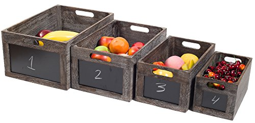 Vintage Style Produce Chalkboard Front Wooden Crate Boxes - Set of 4