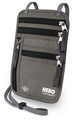 HERO Neck Wallet – RFID Blocking Passport Holder – Easy to Conceal Travel Pouch
