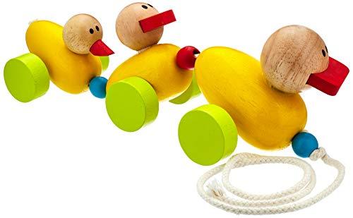 """Zieh-Entenfamilie """"Quak"""" aus Buchenholz, beim Ziehen wackelt die niedliche Entenfamilie lustig hinterher, fördert spielerisch die motorischen Fähigkeiten und ersten Gehversuche"""