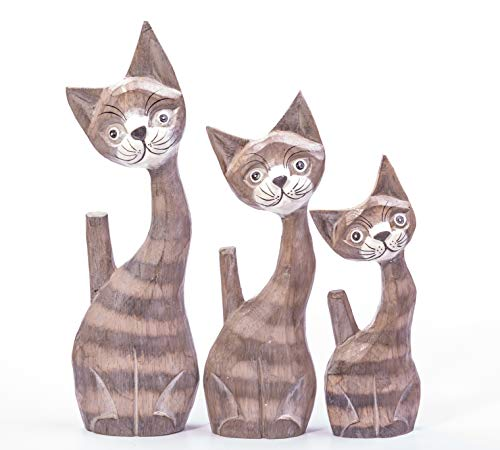 Set Of Three, Hand Carved, Fair Trade Wooden Cats - Unique Gift - Home Decoration - Ornament - Sculpture - House Warming Gift - Cat Lovers