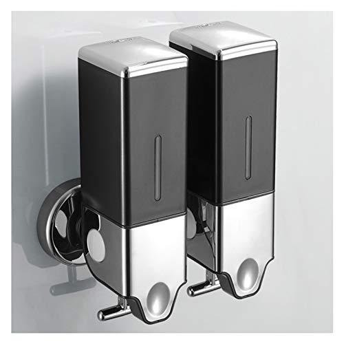 Dispensador de Jabón Perforado / No hay necesidad de perforar el dispensador de jabón de doble uso, el champú y la botella de gel de ducha, 500ml es adecuado para el baño del hotel Dosificador jabón