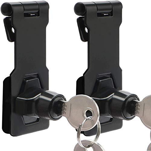 Cerradura de cerrojo con llave, Paquete de 2 cerrojos de cerradura con hebilla de 3 pulgadas con llave Hebilla de pestillo y candado 2 en 1 Herrajes cromados de alta resistencia sin perforaciones