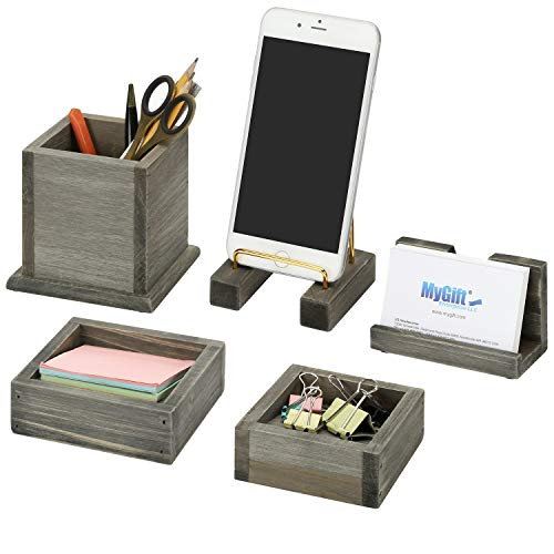 MyGift 5-Piece Rustic Reclaimed Style Gray Wood & Brass Metal Home Office Desk Accessory Set