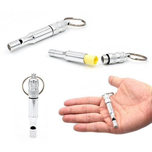 Riao-Tech円形クボタン護身棒キーホルダー+ホイッスルエスケープツール痴漢対策危険防止ガラスを破る護身グッズ
