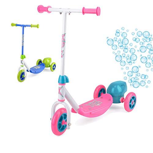 Xootz Kinder Bubble Scooter, 3-Rad-Tretroller mit Blasen-Gebläse, Pink
