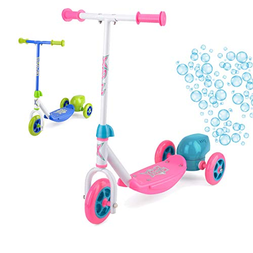 Xootz Kinder Bubble Scooter, 3-Rad-Tretroller mit Blasenbläser, Blau/Pink, Unisex, Kinder Bubble Scooter, Tretroller mit Blasengebläse., Rose, Einheitsgröße