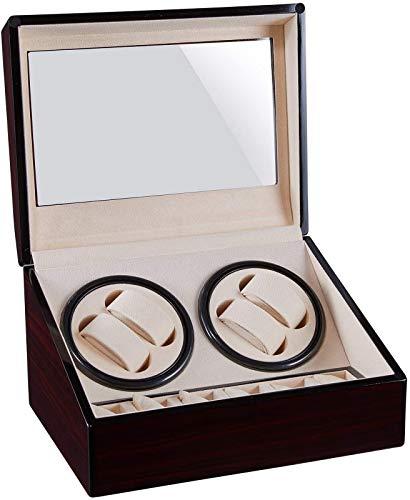 JJDSN 4 + 6 Pantalla de Soporte de enrollador automático de Reloj Reloj mecánico Agitador de Motor Caja de bobinado Rotador de Relojes Organizador de Almacenamiento de Gran Capacidad Adecuado para