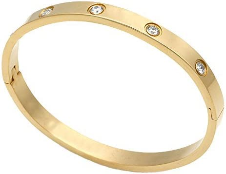 Baoli 18k Gold 10 Cz Diamond Blank Plain Bangle bracelet for women