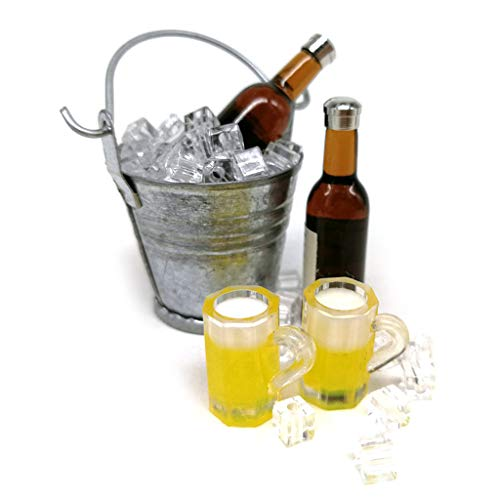 VEED 1: 6 Accesorios de casa de muñecas DIY Miniatura Mini simulación Barril de Hielo Cerveza Botella de Vino Cocina Juego de simulación Juguete