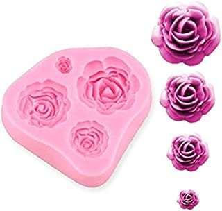 RKPM HOMES Roses Flower Silicone Cake Mold Chocolate Sugarcraft Decorating Fondant Fimo Tools 4 Size Pink Pack of 1 Mold S...