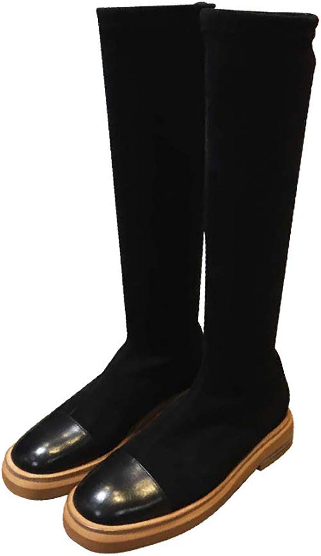 stövlar ny ny ny läder skor Round Head Flat Comfortable Elastisk Force stövlar Ladies Slim High Long stövlar (färg  svart, Storlek  34)  ny stil