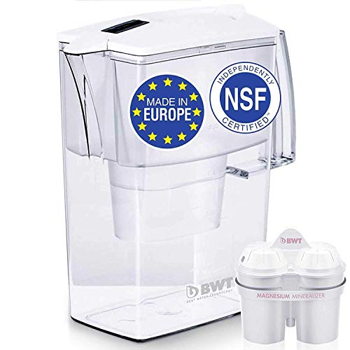 Europes #1 Compact Water Filter Pitcher, Patented Magnesium Technology for Superior Filtration and Taste, BPA-Free, Not Made in China Like the Others - 60 Day Filter Included