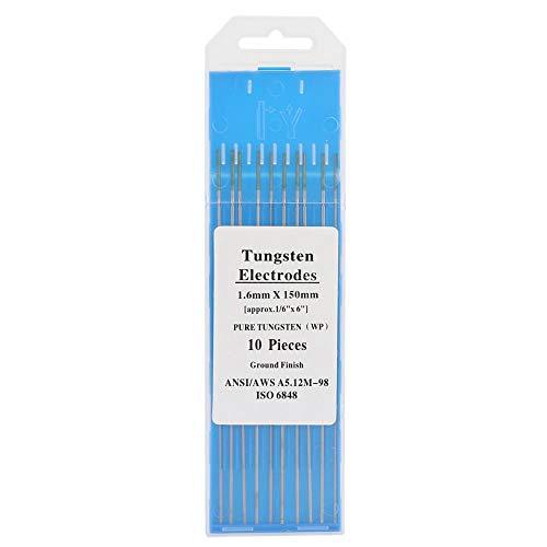 10 * Electrodos de tungsteno puro - Punta verde WP 1.0/1.6/2.0/2.4/3.2 mm para soldadura Tig de CA(2.0mm*150mm)