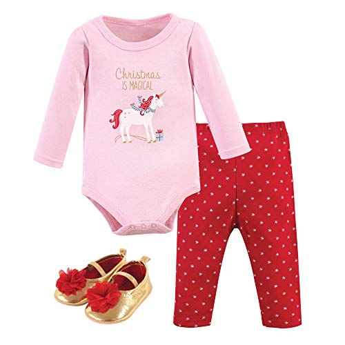 Hudson Baby Unisex Baby Cotton Bodysuit, Pant and Shoe Set, Magical Christmas, 3-6 Months