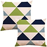 ZUEXT Geometric Cotton Linen Throw Pillow Covers 18x18 Inch Double Sided Design, Set of 2 Abstract Art Navy Pear Green New Living Series Indoor Cushion Cover Pillowcase for Couch Car Sofa Home Decor