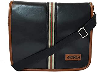 Monza Italy Leatherette Unisex Stylish Tablet/iPad Formal Office Black Cross Body Messenger Bag with Adjustable Shoulder S...