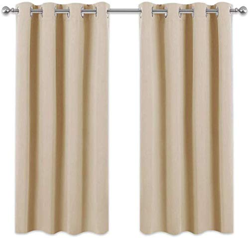 Cxssxling – Juego de 2 Cortinas Opacas térmicas aislantes para decoración de salón Gris 132 x 45 cm, Beige, 132x114cm