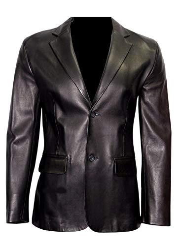 VearFit Rozero Blazar schwarzer formeller Mantel aus Kunstleder mit Zwei Knöpfen für Herren Regular Big & Tall