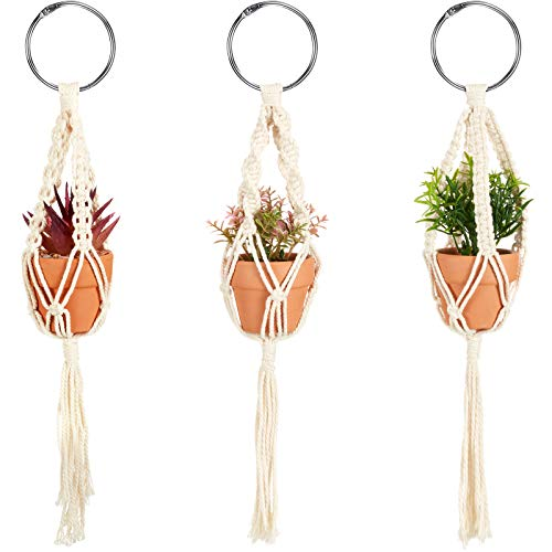 3 Pieces Mini Macrame Plant Hangers with 3 Pieces Artificial Succulent Plants, Rear View Mirror Hanging Planter Decorations Plant Hanger with Pot and Plant for Car Home Decor Supplies (Reddish Brown)