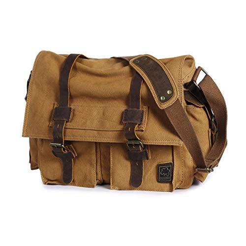 Everwell Umhängetasche Herren Vintage Canvas Schultertasche Multifunktion Messenger Bag Herrentasche Arbeitstaschen Kuriertasche für Arbeit Schule, Coffee