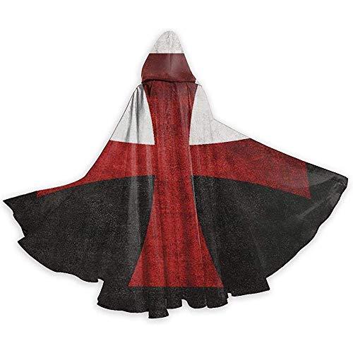 KDU Fashion Magische mantel, zwart-wit-vlag rood ijzeren kruis capuchonomhang Premium Wizard kostuums voor show party 40x150cm