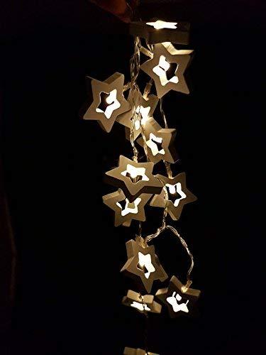 Holz Lichterkette mit 20 LED - Motiv: Stern - Deko Lichterkette in warmweiß - Batterie betrieben