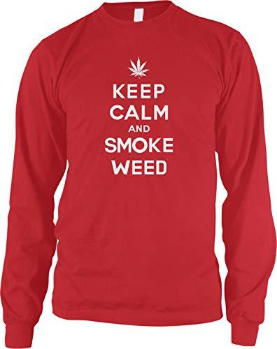 Amdesco Men's Keep Calm and Smoke Weed Marijuana Long Sleeve Shirt, Red XL