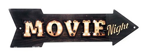 S&B Movie Night Vintage Light Bulb & Wood Look Novelty 17x5 Arrow Metal Sign for Wall