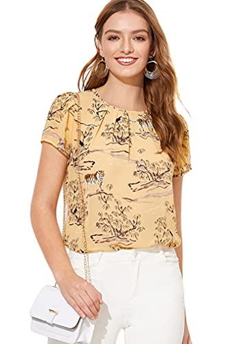 Milumia Women's Summer Animal Print Pleated Work Keyhole Blouse Top Yellow Large