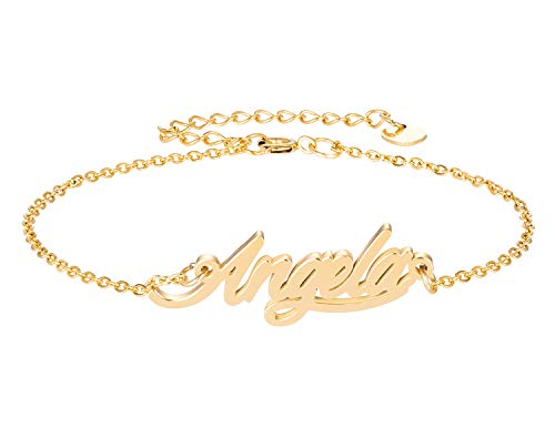 HUAN XUN Angela Name Bracelet for Womens Girls Jewelry Gifts Stainless Steel