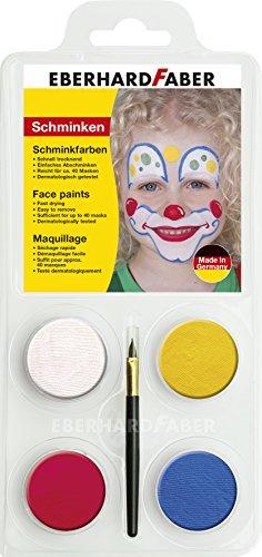 Eberhard Faber 579010 - Schminkfarbe 4er Set Clown, Farben weiß, gelb, rot und blau, inklusive...