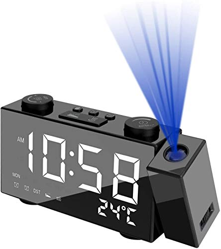 YINGHUI Reloj despertador de proyección, radio digital con proyector de 180°, radio FM, 4 opciones de brillo, alarmas duales, 12/24H, reloj de proyección para dormitorio, oficina con puerto USB