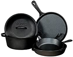 "Image of Lodge Seasoned Cast Iron 5 Piece Bundle. 10.5"" Griddle, 8"" Skillet, 10.25"" Skillet, 10.25"" Dutch Oven, and 10.25"" Lid: Bestviewsreviews"