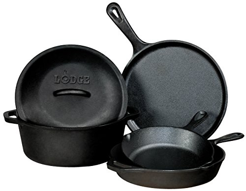 Lodge Pre-Seasoned Cast Iron 5 Piece Set, Black