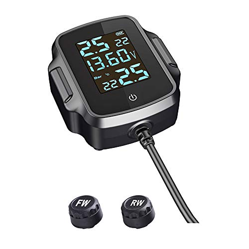 Haihui Medidor de presión de neumáticos para motocicleta, inalámbrico, de alta precisión, con carga USB, detector de tPMS, con pantalla digital LCD
