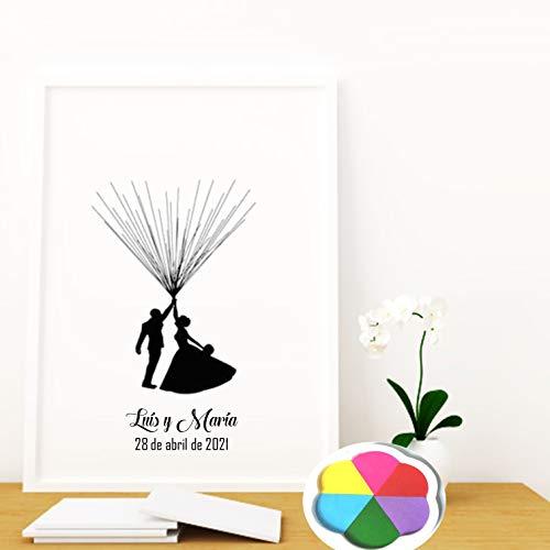 Didart Handmade Quadretto per matrimonio, libro degli ospiti con impronta digitale, personalizzabile con inchiostro e cornice (cornice bianca, 50 - 60 cm)