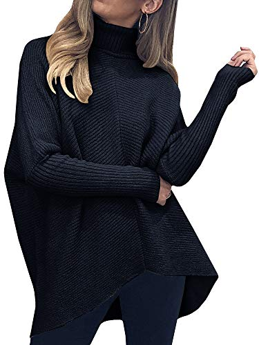 Nulibenna Womens Turtleneck Long Batwing Sleeve Sweater Asymmetric Hem Casual Winter Pullover Ribbed Knit Tops Black