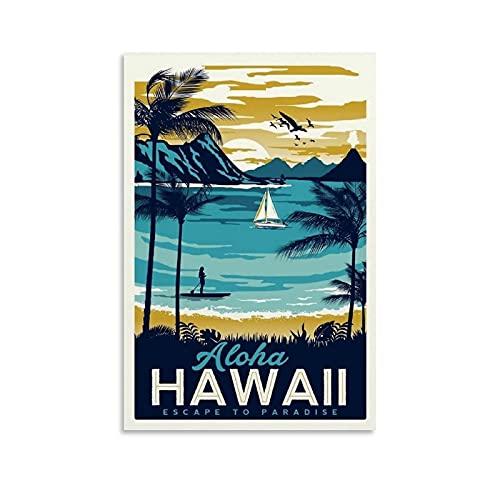 AWYYDM Hawaii Vintage Decoraciones Póster Decorativo Lienzo Lienzo Arte de la Pared de la Sala de estar Carteles de Dormitorio Pintura 30x45cm