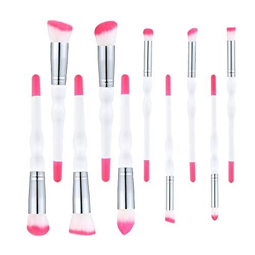 Pinceaux de maquillage 10 pcs, Kit de pinceaux de maquillage Fond de teint mélange de poudre correcteur d'ombres à paupières Kit de pinceaux de maquillage,Silver