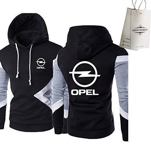 SPORTYAN Sweater Hoodie Farbblock Op-El Printing Herren & Damen Classic Casual Pullover Sweatshirt Oben/Schwarz/XS