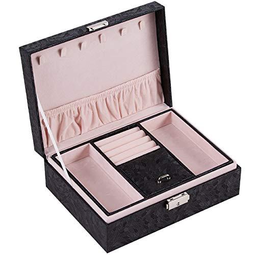 MUY Caja de joyería Grande de Lujo de Dos Pisos Caja de joyería de Terciopelo espaciosa Caja de exhibición de Anillo de Almacenamiento de Pulsera de Cuero PU para Mujeres