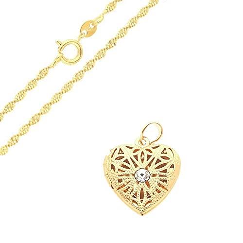 Cadena y colgante portafotos en forma de corazón calado oro amarillo 750 laminado*
