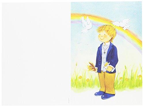 Mopec Portafoto de Primera Comunión con un niño con un Arco Iris, Pack de 25 Unidades, Cartulina, Multicolor, 0.02x11.50x17.00 cm